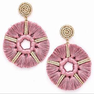 Jewelry - Mauve Hoop Fringe Circle Star Dangle Earrings Bead
